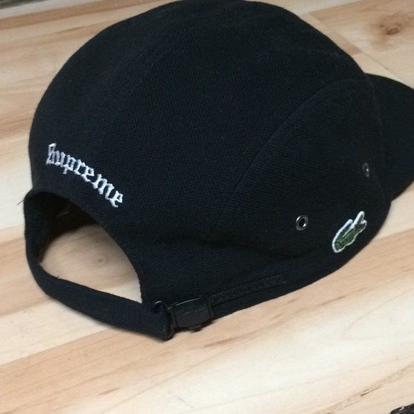 Black Supreme Lacoste 5 panel camp cap. M 5a9c8bf53a112e9f2de3aec6 1eaded4ba50